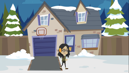 Girl outside in snow from animated video