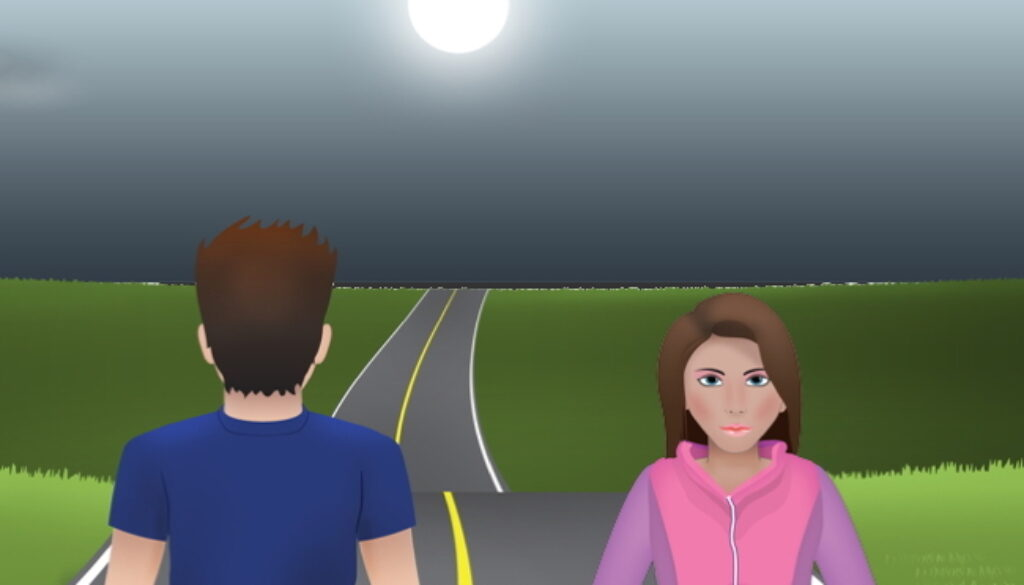 Boy facing one direction and girl facing the other with road in front of them